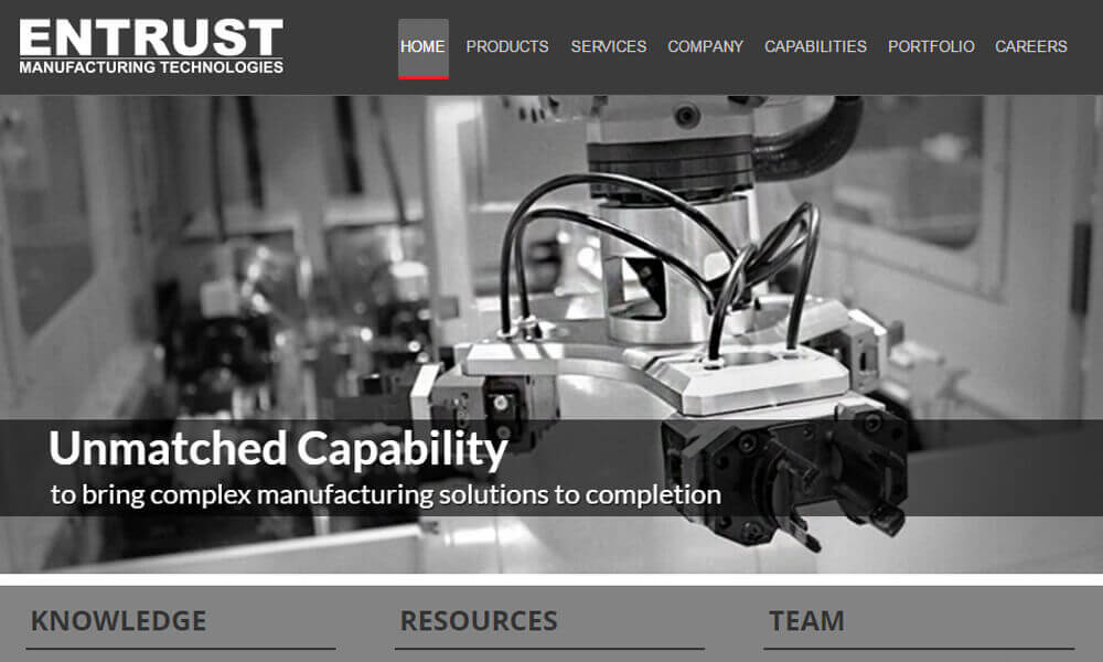 entrust manufacturing technologies screenshot
